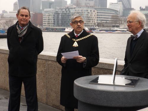 Mark Chapman of More London (left), The Mayor of Southwark and Max Nicholson