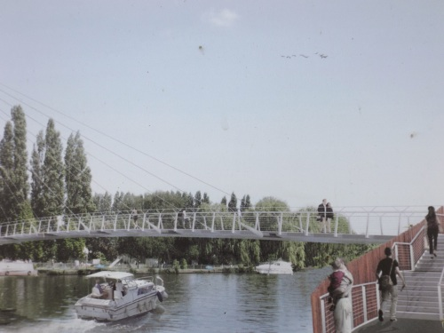 An impression of how the footbridge will appear looking downstream on the towpath