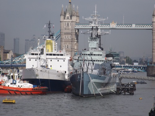 RMS St Helena is alongside HMS Belfast until Friday