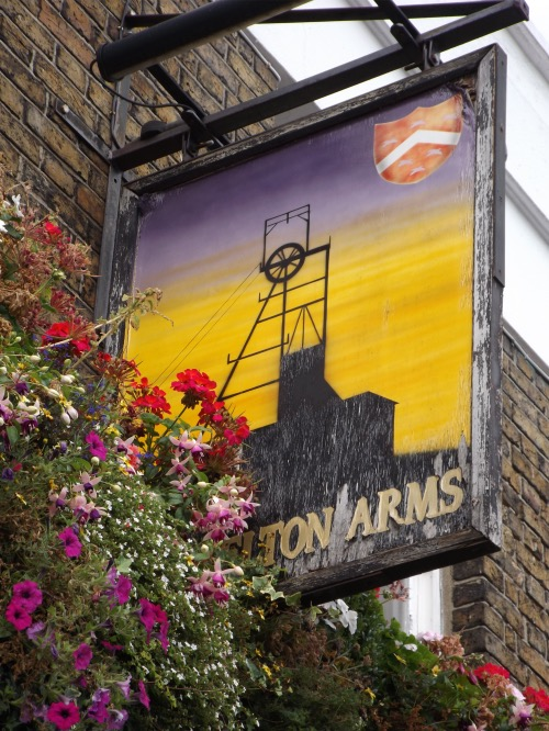 Pelton Arms sign